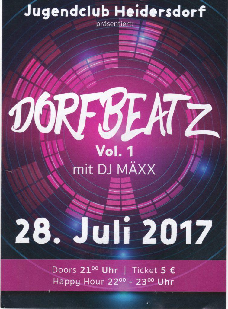 DORFBEATZ Vol. 1 mit DJ MÄXX @ Jugendclub Heidersdorf | Heidersdorf | Sachsen | Deutschland