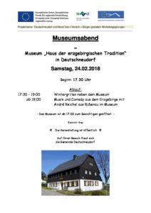 Museumsabend mit Wintergrillen und Abendprogramm @ Museumshaus
