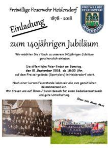 140 Jahre Freiwillige Feuerwehr Heidersdorf @ Festgelände Heidersdorf (Sportplatz)
