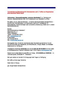 Terminänderung: 1. Treffen Organisation Laternen-Anschieben 2018 @ Landhotel Quelle