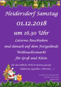 Laternen-Anschieben und Weihnachtsmarkt @ Rathaus und Festgelände Heidersdorf