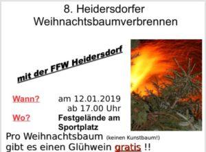 8. Weihnachtsbaumverbrennen - Heidersdorf @ Festgelände Heidersdorf (Sportplatz)