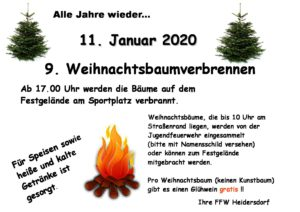 9. Weihnachtsbaumverbrennen - Heidersdorf @ Festgelände Heidersdorf (Sportplatz)