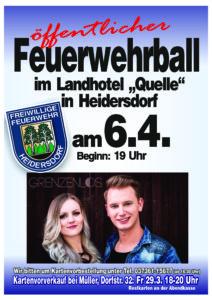 Feuerwehrball in Heidersdorf mit Live Musik @ Landhotel Quelle