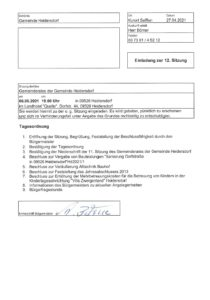 """Gemeinderatssitzung Heidersdorf - Einladung @ Landhotel """"Quelle"""""""