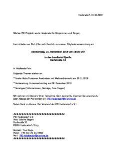 PBI Heidersdorf e.V. - Mitgliederversammlung @ Landhotel Quelle